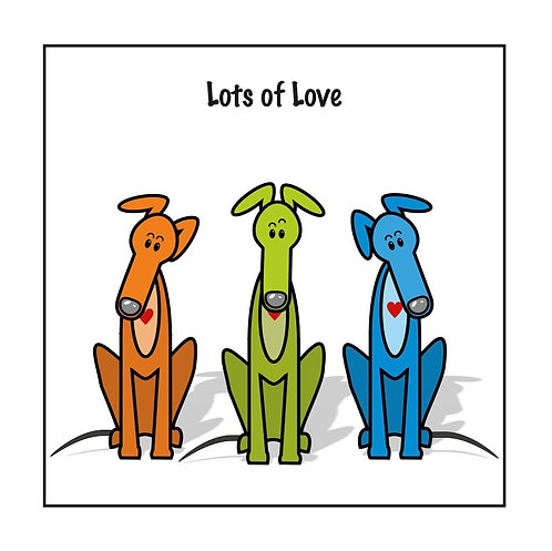 Greyhound Greeting Card - Lots of Love