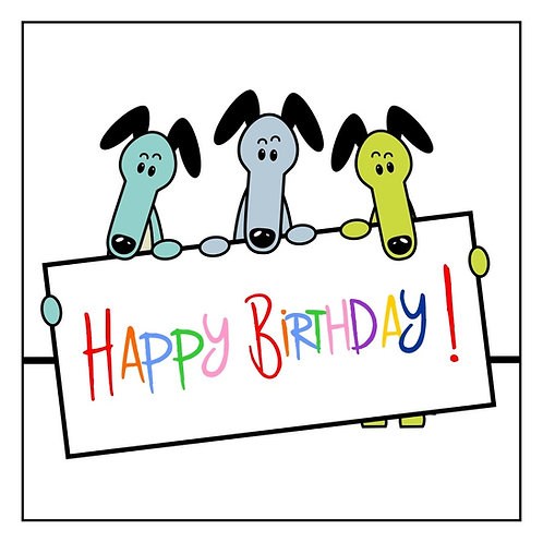 Greyhound Greeting Card - Happy Brithday!