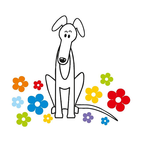 Greyhound Greeting Card - Hound & Flowers