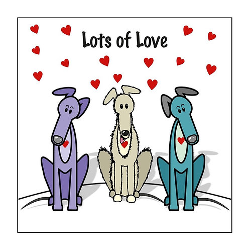 Greyhound Greeting Card - Lots of Love Hearts