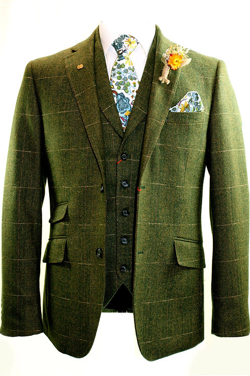 BURFORD 3 Piece Olive Tweed Suit.
