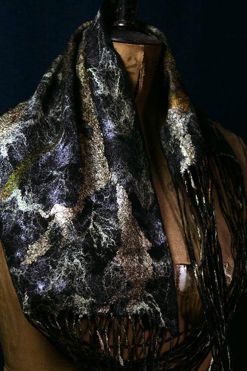 Infinity Scarf made of 100% Merino Wool and Silk Gauze.
