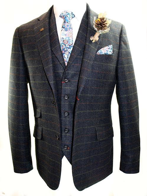 WARWICK 3 Piece Navy Tweed Suit.