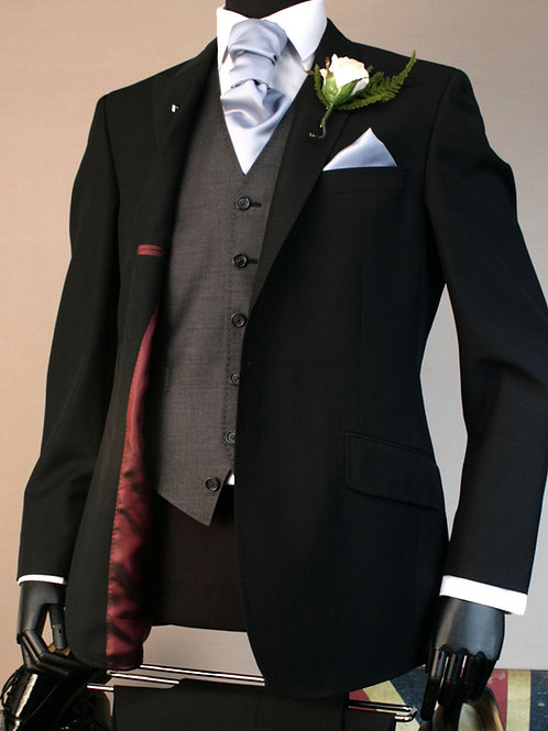2 Piece Black Mohair Lounge Suit