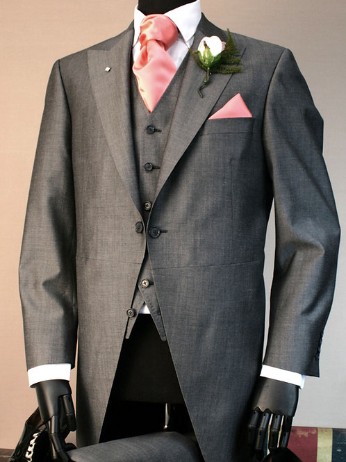 3 Piece Silver Grey Mohair Tailcoat Suit