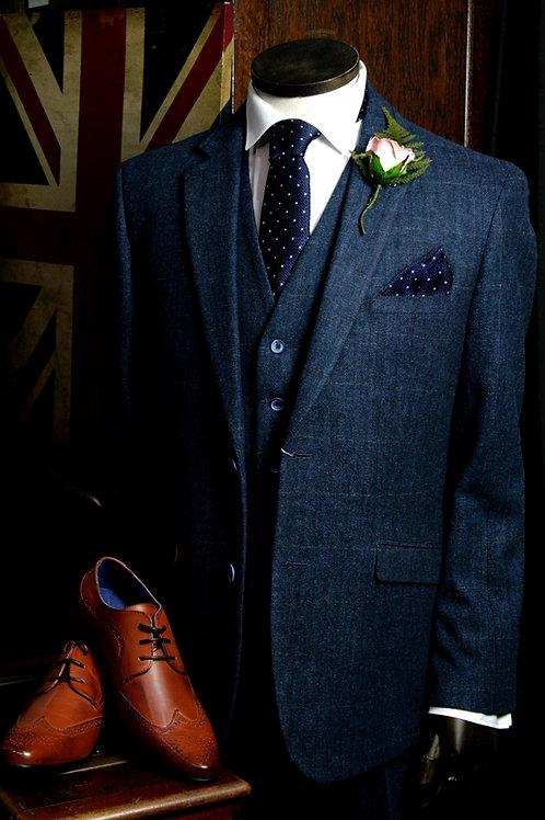 Carnegi 3 Piece Tweed Dark Blue Suit by Cavani