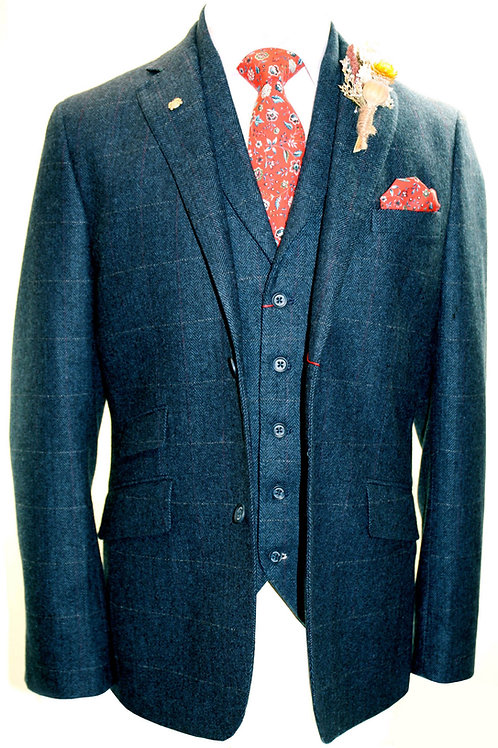 FAIRFORD Blue Check 3 Piece Tweed Suit