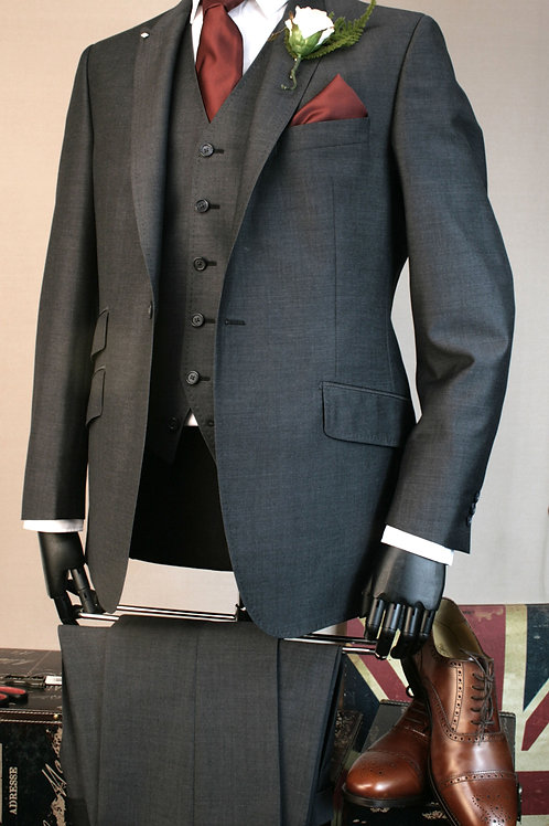 3 Piece Charcoal Grey Mohair Lounge Suit
