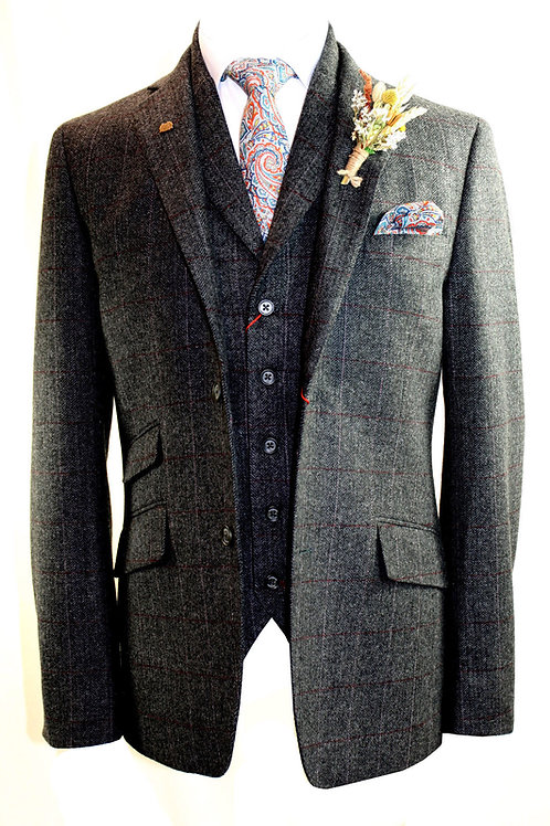 STANTON 3 Piece Charcoal Tweed Suit.