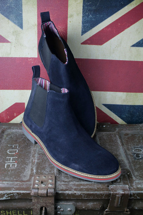 RMS-M611CS Gusset Boot. Navy Suede