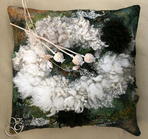 """Green Shetland No1"". 100% Wool & Eco Print Cushion Cover."