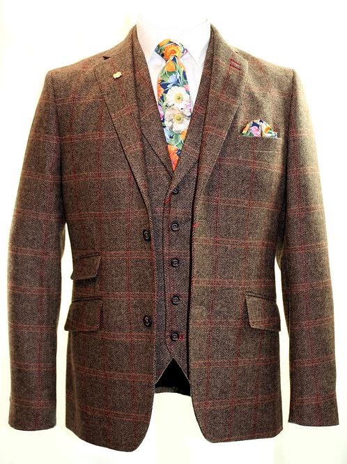 STRATFORD 3 Piece Tweed Brown Check Suit