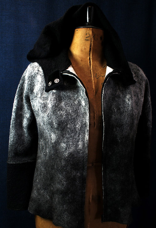Grey/Black Hooded  Alpaca-Merino Jacket