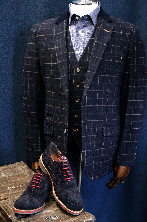 Shelby Tweed 3 Piece Navy Check Suit by Cavani