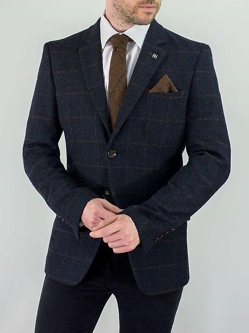 KEMSON 3 Piece Tweed Navy Suit