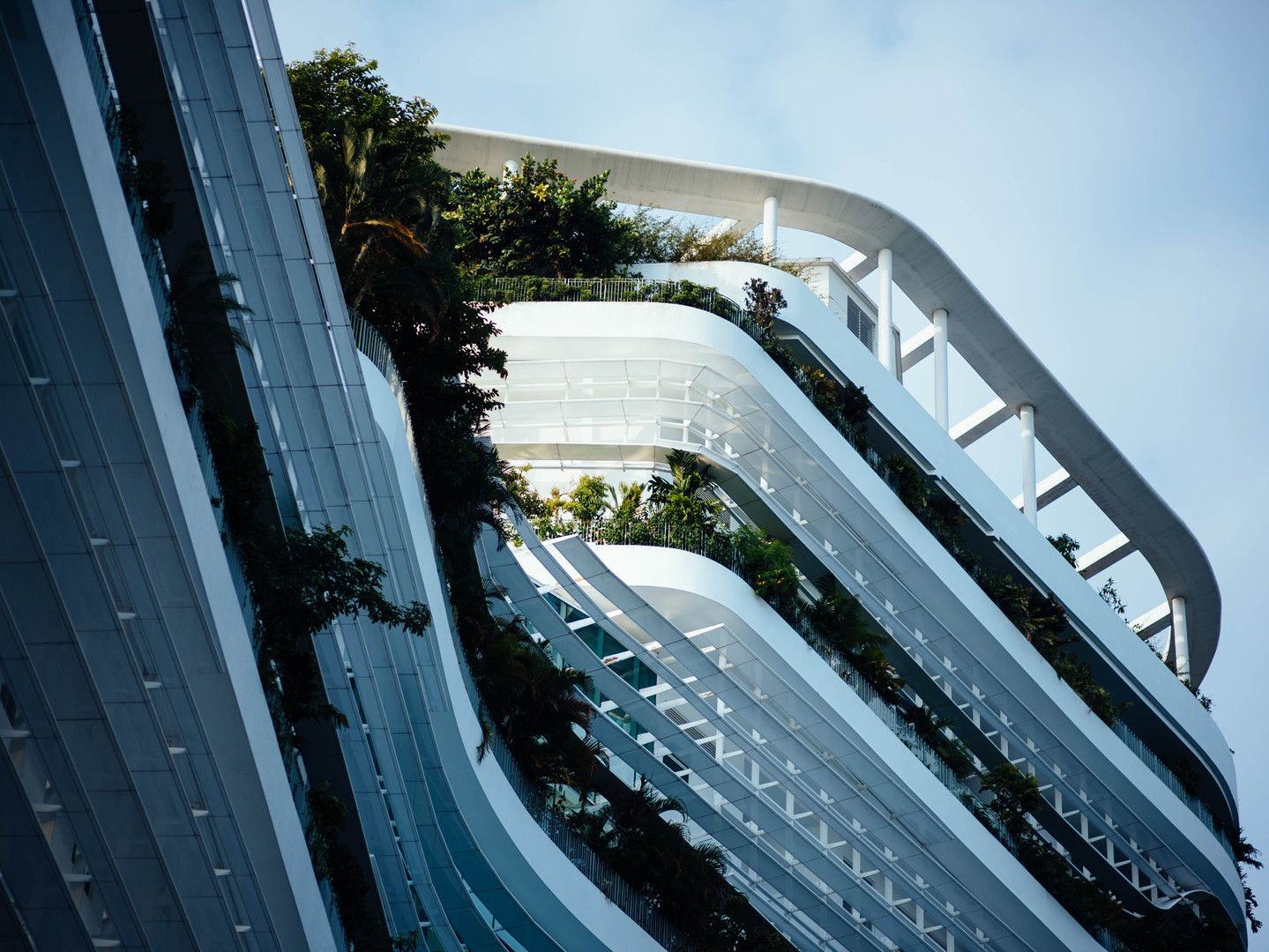 Side view of a white minimalistic ecological building