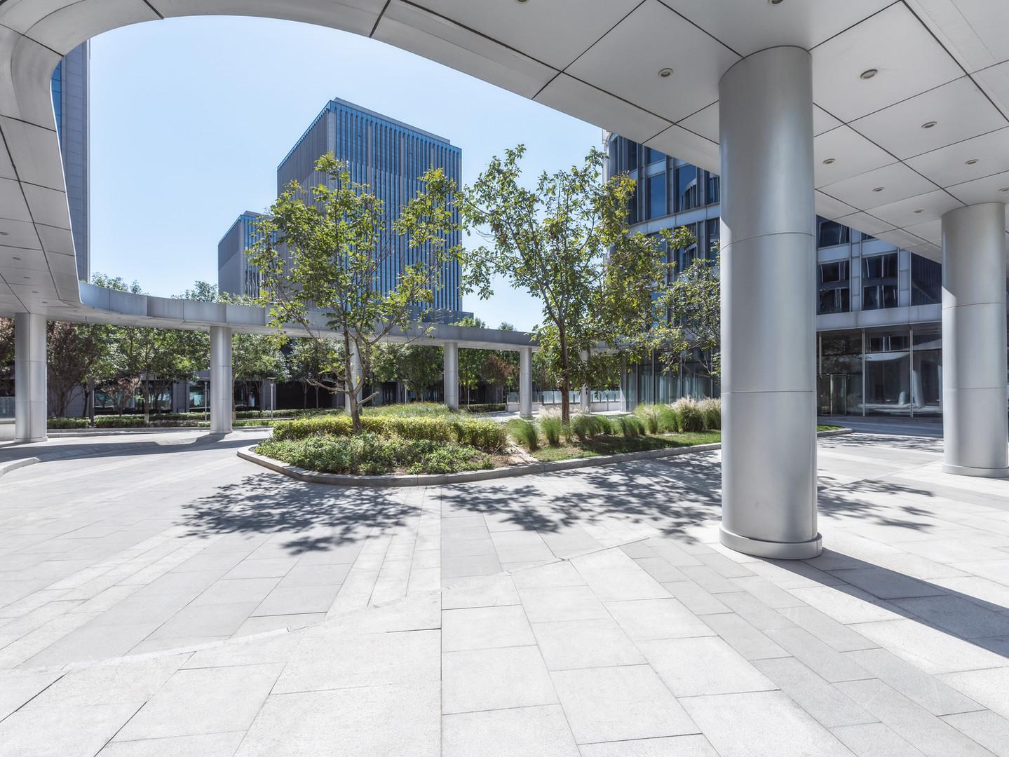 Modern commercial center door front