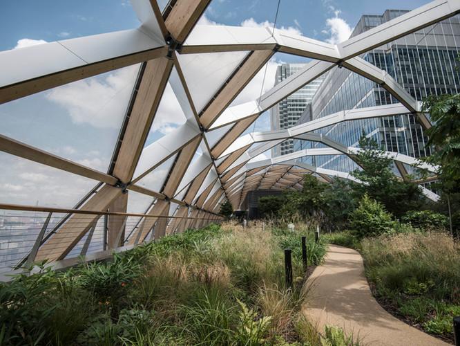 Inner photo of bridge with indoor garden