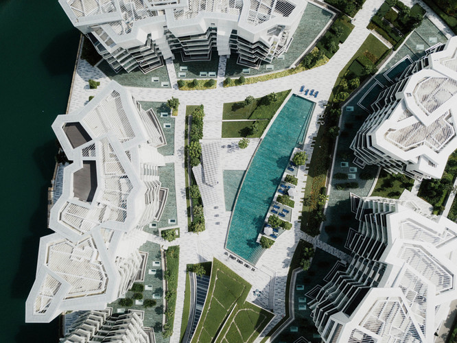 Top view of a commercial and residential project