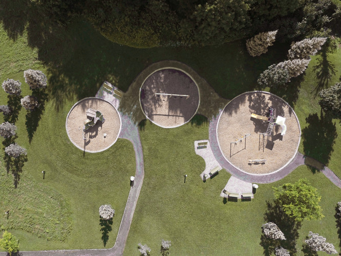 Top view of a sunny playground