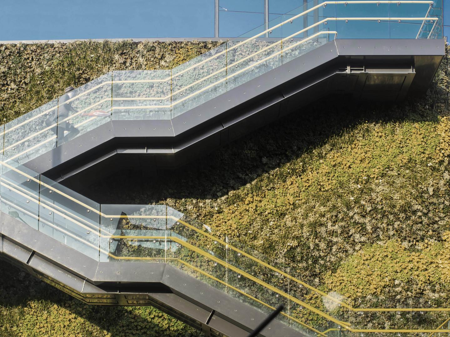 Glass made staircase of a vertical garden
