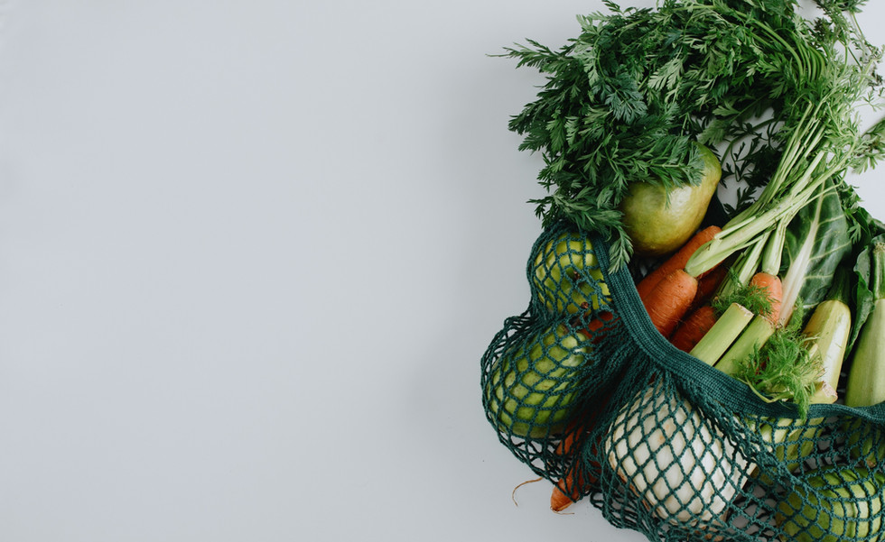 Cloth produce bag with vegetables