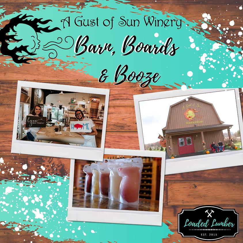 Barn, Boards & Booze - DIY Workshop @ A Gust of Sun Winery