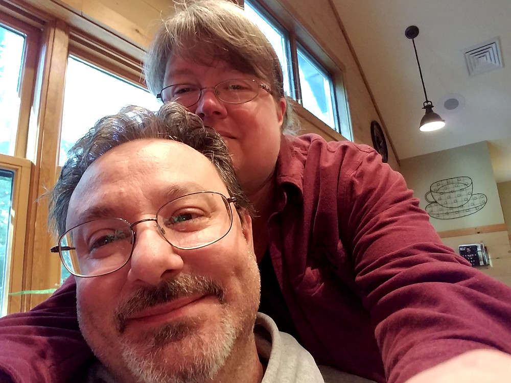 Me and Patrick at the coffee shop at camp