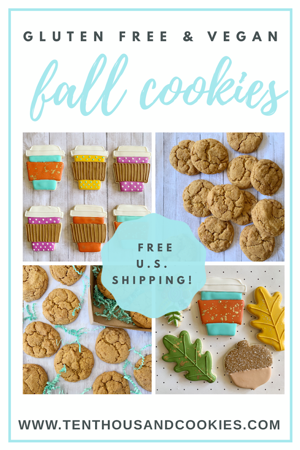 gluten free and vegan fall themed cookies available at www.tenthousandcookies.com