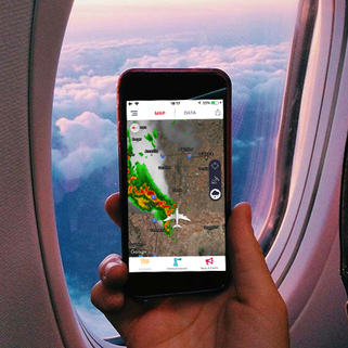 Get live weaher radar and satellite images on your flight-path with the Inflighto app