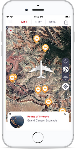 Inflighto Moving-Map Inflight Enterainment Points of Interest Grand Canyon