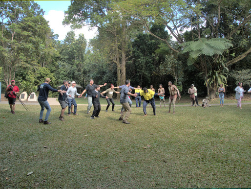 Wanjuru Elders and dance troupe welcome corporate executives to Babinda