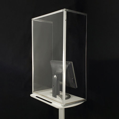 Standing Trifold Plastic Shield - Aluminum trim