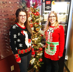 Dr. Starko and Taylor in their Christmas Sweaters