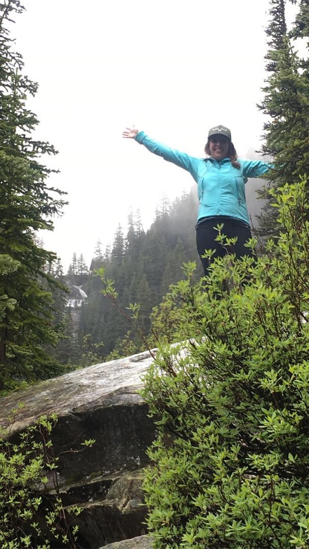 Taylor hiking by Lake Louise