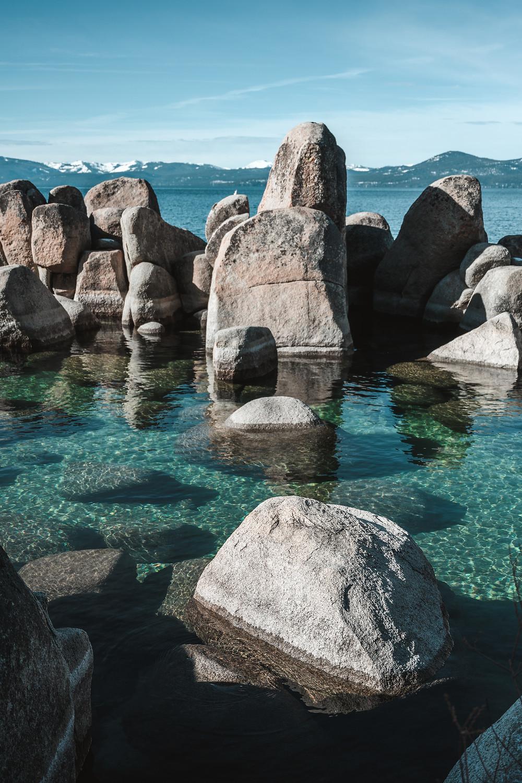 Clear blue water in lake tahoe