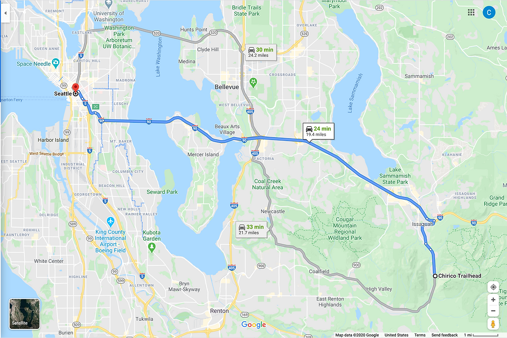 Google maps route of Seattle to Chirico Trailhead