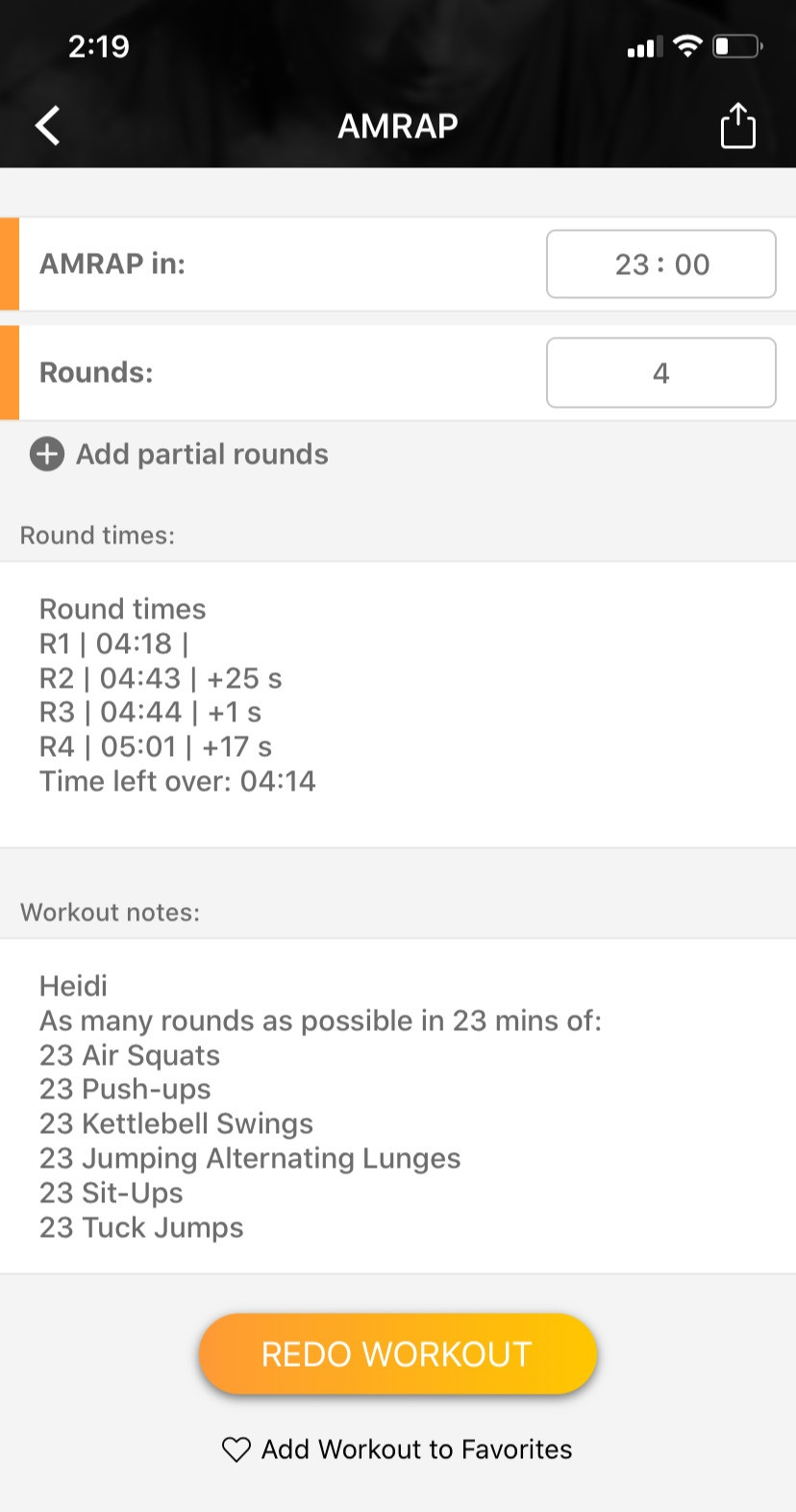 Screenshot of SmartWOD app after completing a workout