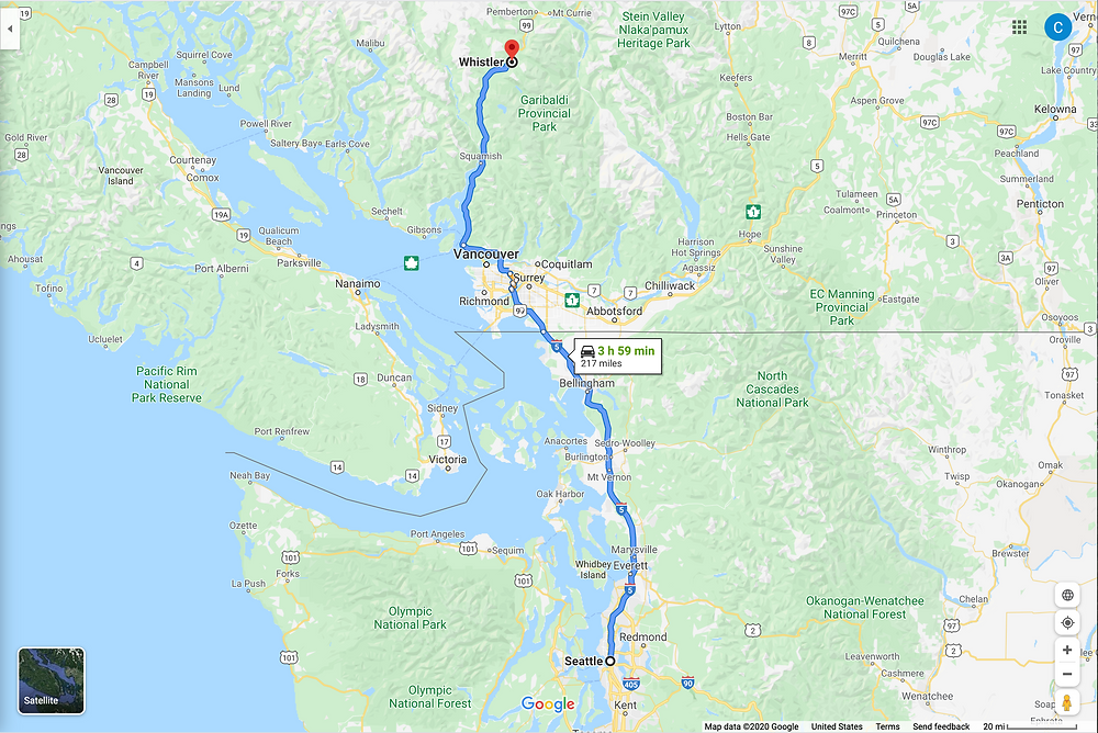Google map of driving route from Seattle to Whistler