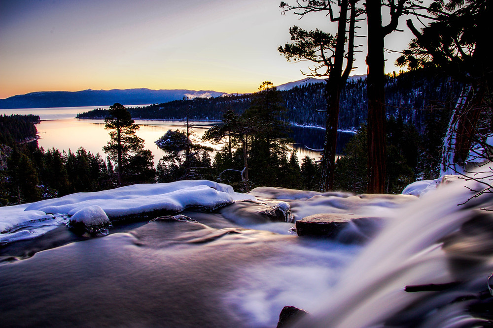 Sunrise over emerald bay on lake tahoe