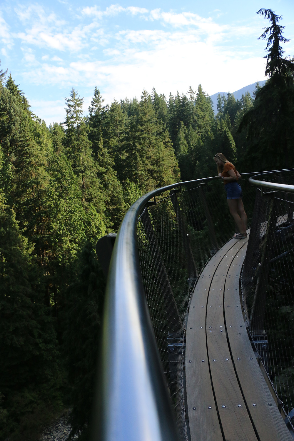 Girl staring over the edge of the Cliff Walk in Capilano Suspension Bridge Park