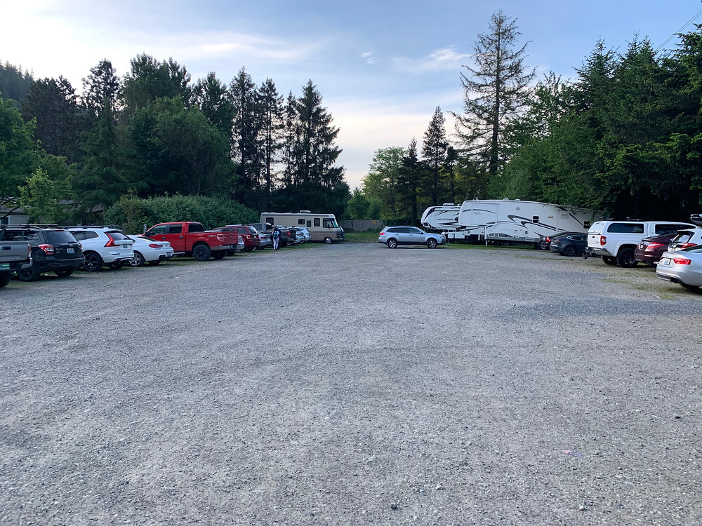 Cars in overflow parking lot for chirico hiking trail
