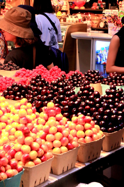 baskets of berries in granville island market