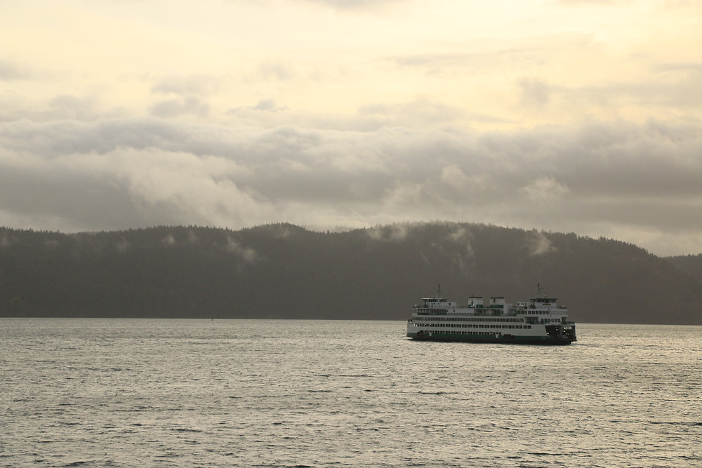 a washington state ferry on the water by the san juan islands