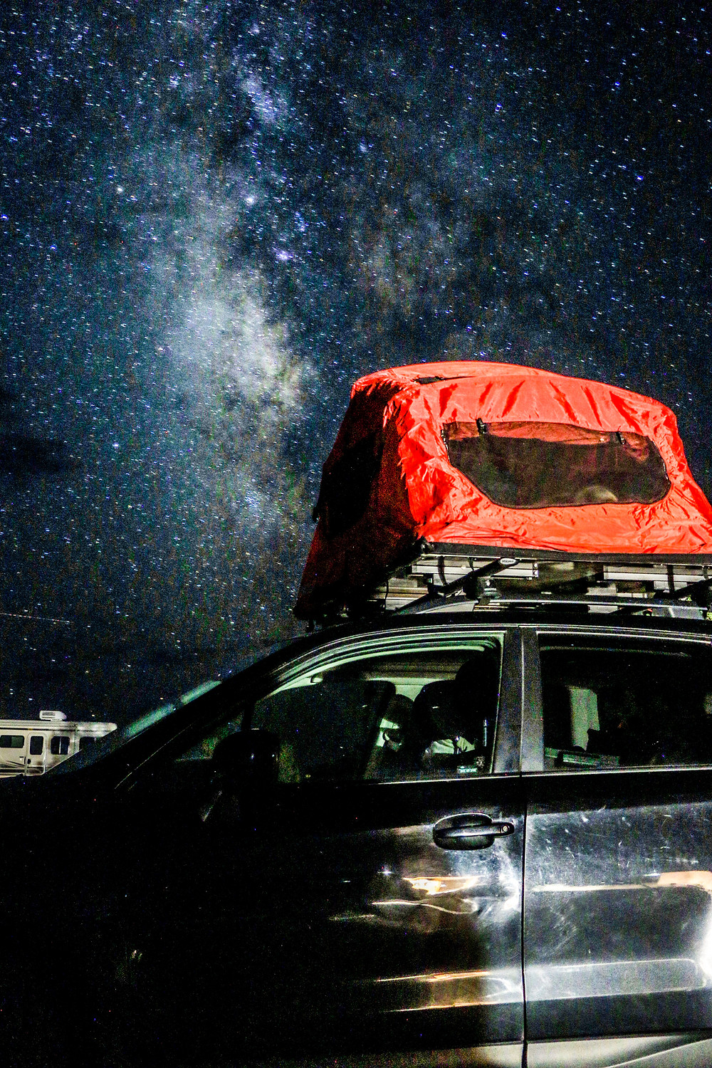 The milky way over a tent