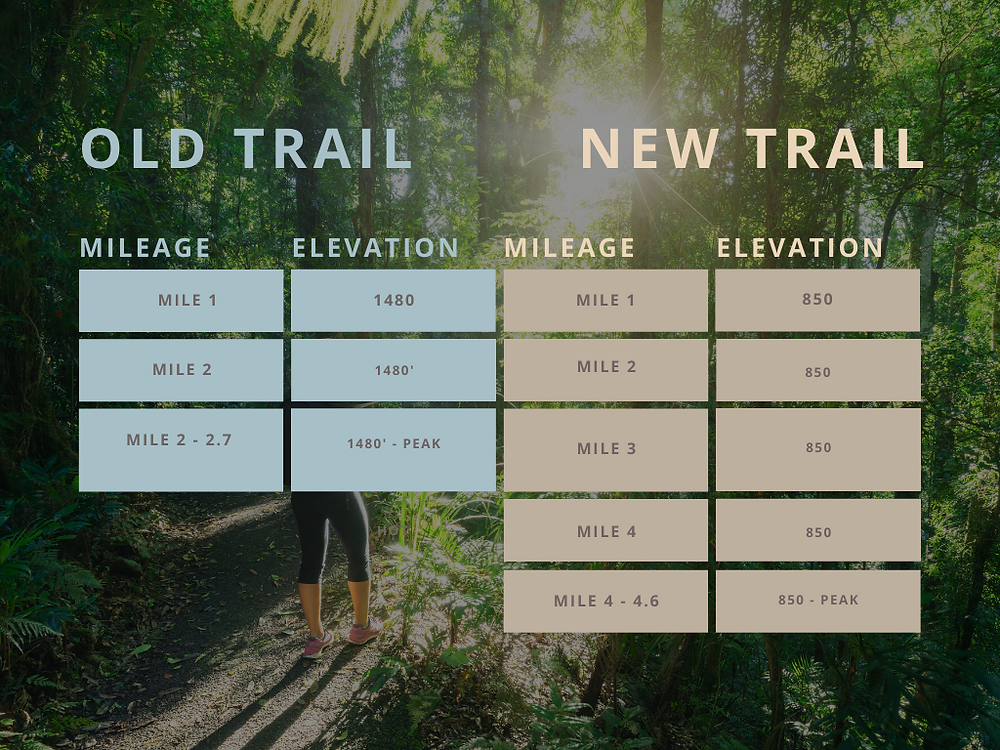 Infographic showing difference between mailbox peak old trail and new trail