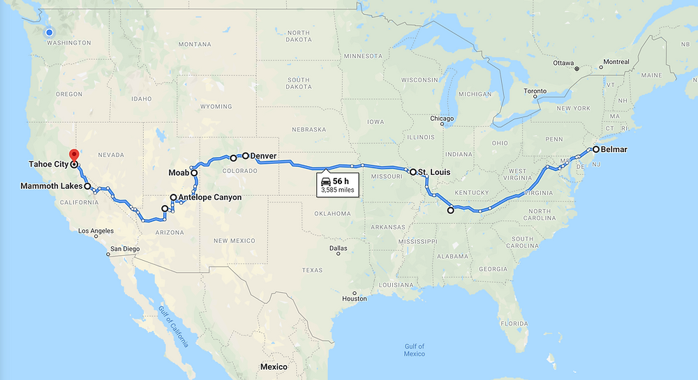 Road Trip Map of the Unites States