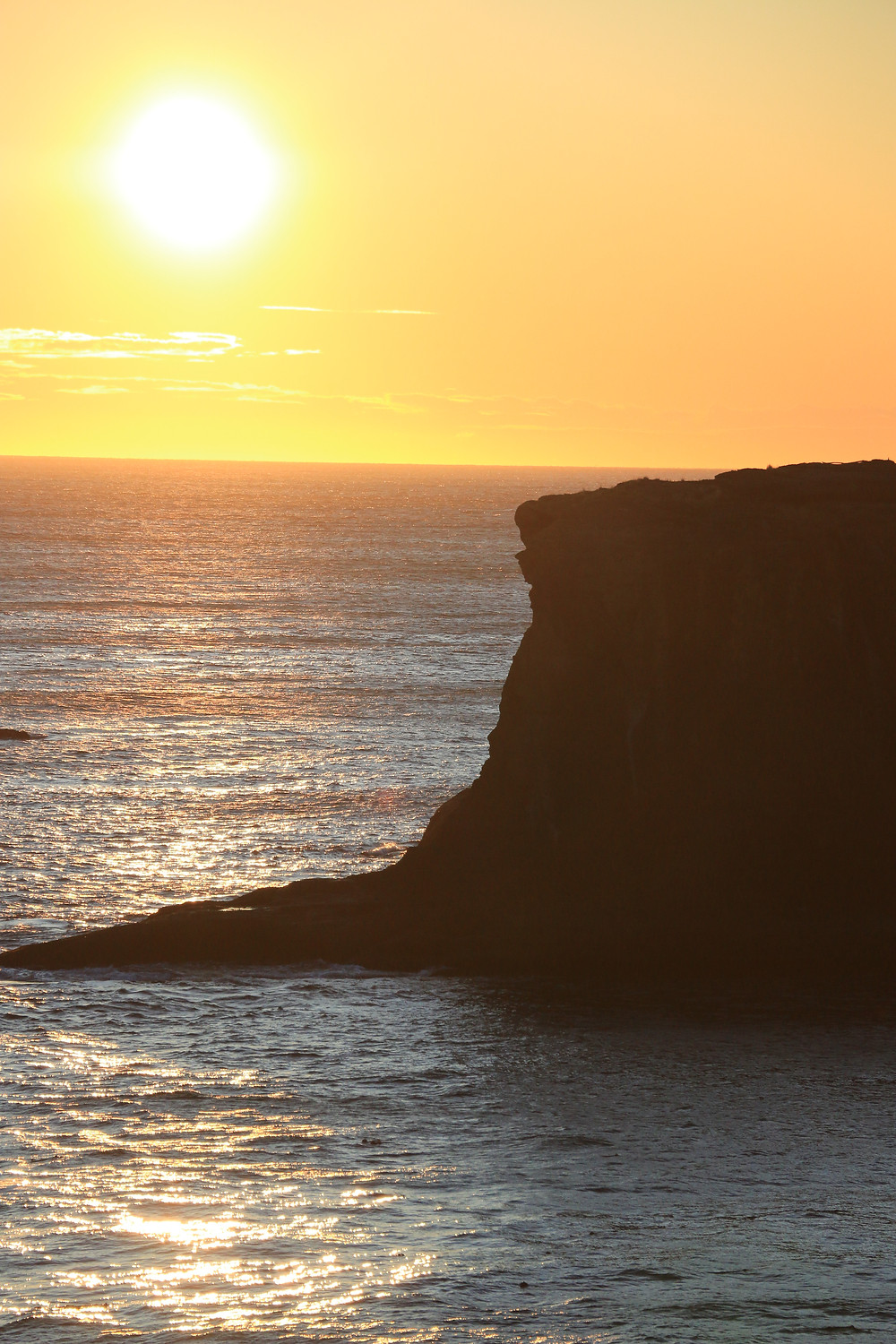 sun setting over pacific ocean from cape flattery