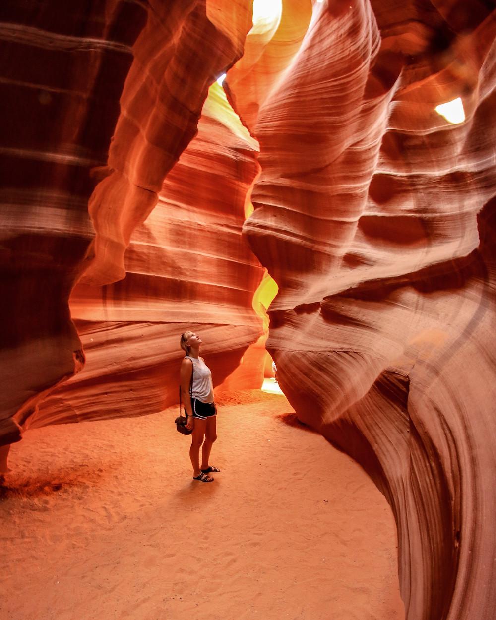 a girl in antelope canyon