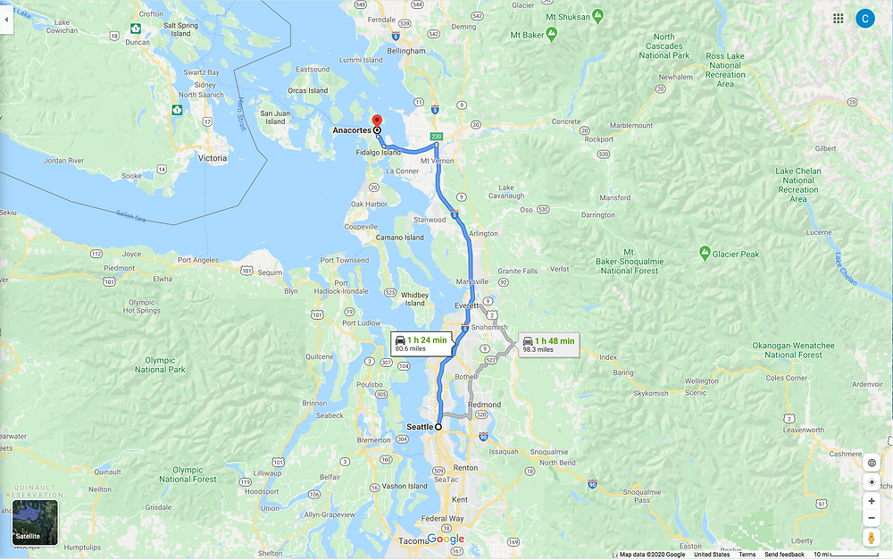 google map of Seattle to Anacortes